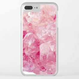Pink Rose Quartz Crystals Clear iPhone Case