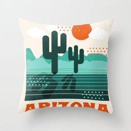 Arizona - retro 70s 1970's sun desert southwest usa throwback minimal design Throw Pillow