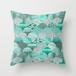 Green Turquoise Glamour Mermaid Scale Pattern Throw Pillow