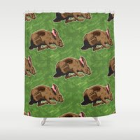 hare Shower Curtains featuring Hare by Skekfaer