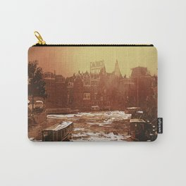 Sunset over canals of Old Amsterdam.  Watercolor painting of gabled facades of old architecture in central Amsterdam. Carry-All Pouch