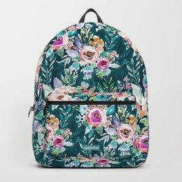 EFFUSIVE FLORAL Dark & Colorful Boho Pattern Backpack