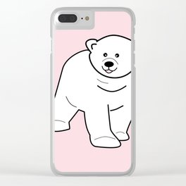 White bear on pink background Clear iPhone Case