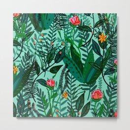 Green Floral Jungle Metal Print