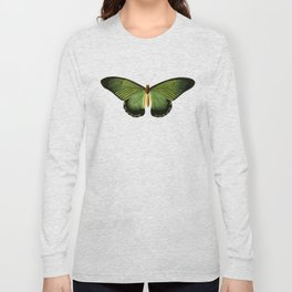 004 Green Butterfly, colorful exotic tropical insect in minimalistic setting Long Sleeve T-shirt