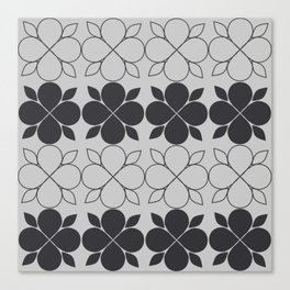 Black and Grey Flower Tile Canvas Print