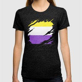 Nonbinary Pride Flag Ripped Reveal T-shirt