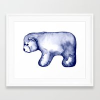 water colour Framed Art Prints featuring water colour polar bear by karinka