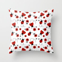 Red Ladybug Floral Pattern Throw Pillow