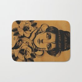 WOMAN and Roses - TATTOO Bath Mat