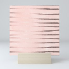 Rose Gold Pastel Pink Drawn Stripes Mini Art Print