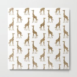 Gold Glitter Giraffe Pattern Metal Print