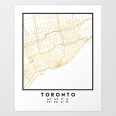 TORONTO CANADA CITY STREET MAP ART Art Print