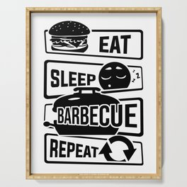 Eat Sleep Barbecue Repeat - Grill BBQ Smoker Serving Tray