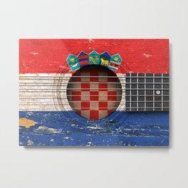 Old Vintage Acoustic Guitar with Croatian Flag Metal Print