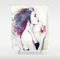 coca cola Shower Curtains featuring You loved Cola after sex by Cora-Tiana