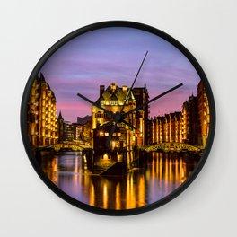 City of Warehouses - Speicherstadt in Hamburg, Germany Wall Clock
