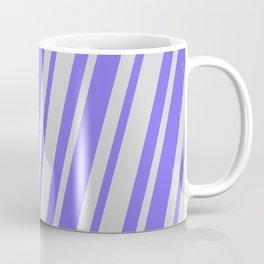Medium Slate Blue and Light Grey Colored Stripes Pattern Coffee Mug