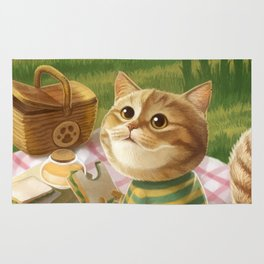 A cat is having a picnic Rug