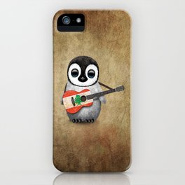 Baby Penguin Playing Lebanese Flag Acoustic Guitar iPhone Case