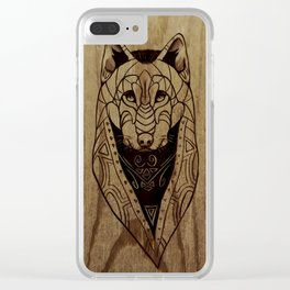 Warrior Wolf Clear iPhone Case