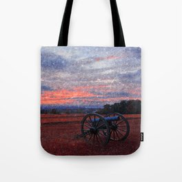 Gettysburg Cannon Sunset - Ruby Rapture Tote Bag