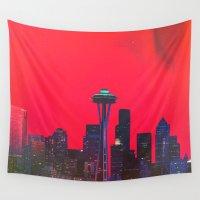 seattle Wall Tapestries featuring Seattle. by Polishpattern
