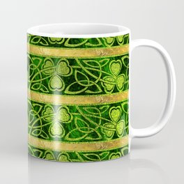 Irish Shamrock -Clover Gold and Green pattern Coffee Mug
