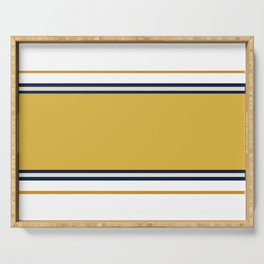 Wide and Thin Stripes Color Block Pattern in Mustard Yellow, Navy Blue, Champagne, and White Serving Tray