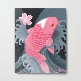 Love Koi Pastel Pink Metal Print