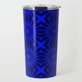 Blue Pinwheel Flowers Floral Pattern Travel Mug