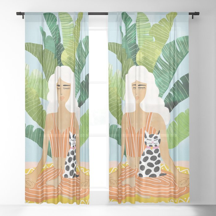 Meditation With Thy Cat #illustration #painting Sheer Curtain