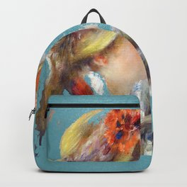 renoir girl and dog teal Backpack