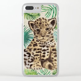 Leopard cub Portrait with tropical leafs Clear iPhone Case