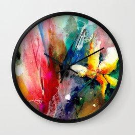 Yellow Flower by Kathy Morton Stanion Wall Clock