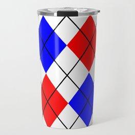 Red And Blue Argyle Design Travel Mug