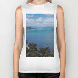 ocean view in blue mountains and sea Biker Tank