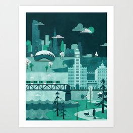 Chicago Travel Poster Illustration Art Print