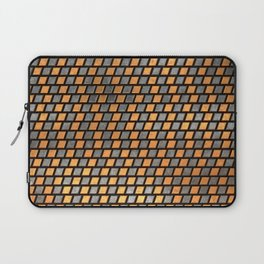 Irregular Chequers - Black Steel and Copper - Industrial Chess Board Pattern Laptop Sleeve