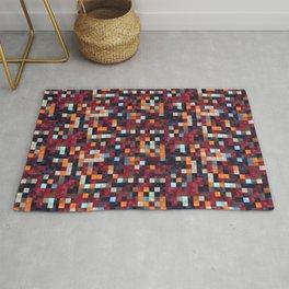 Burgundy Red Orange Tiling Colored Squares Rug