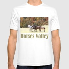 Horses Valley White Mens Fitted Tee SMALL