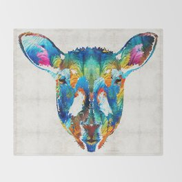 Colorful Sheep Art - Shear Color - By Sharon Cummings Throw Blanket