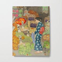 Honest Grocery Hiroshi Yoshida Vintage Japanese Woodblock Print Metal Print