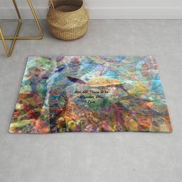 Not All Who Those Wander Are Lost Inspirational Quote With Beautiful Sea Turtle Painting Rug