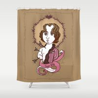 oscar wilde Shower Curtains featuring Oscar Wilde Holy Writer by roberto lanznaster
