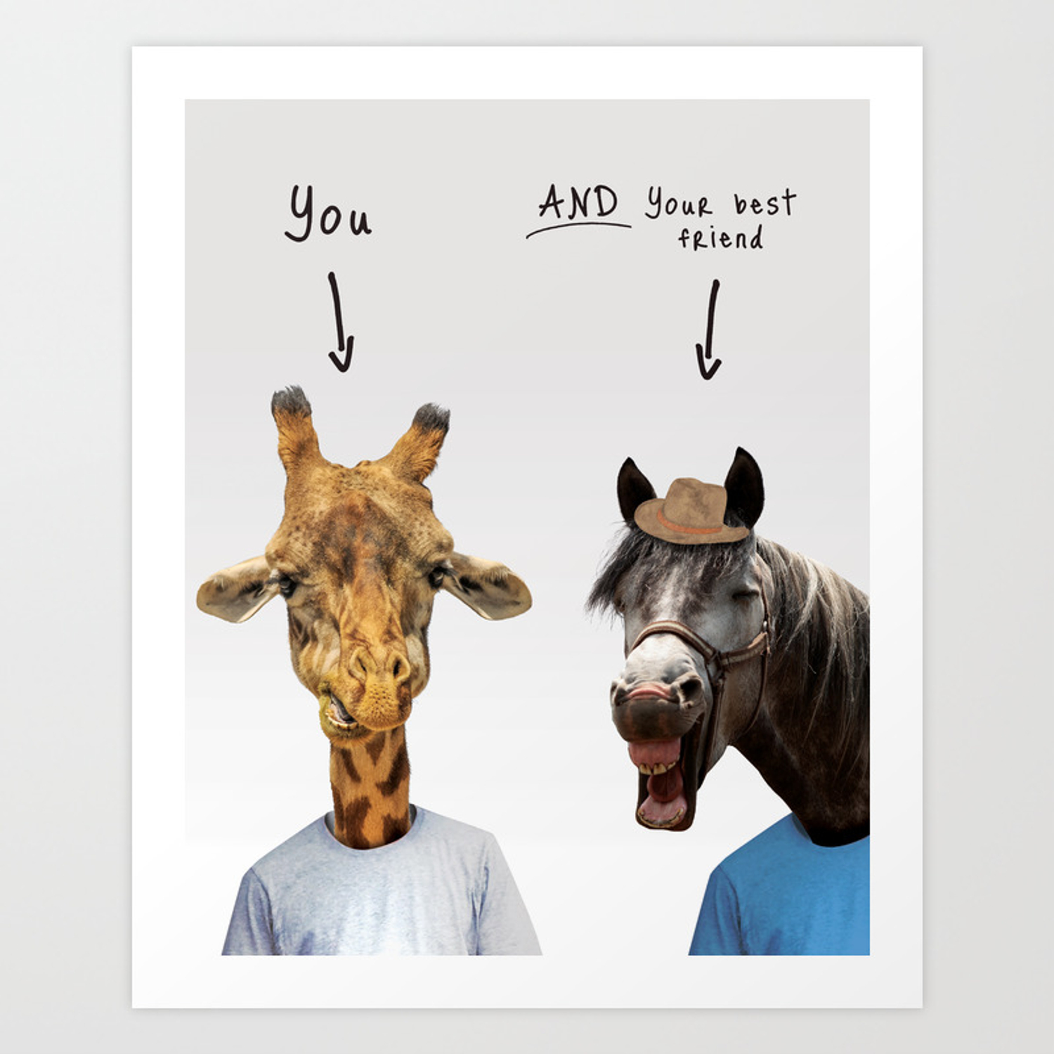 Funny giraffe and horse Art Print by
