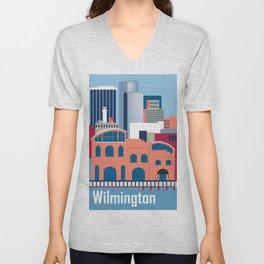 Wilmington, Delaware - Skyline Illustration by Loose Petals Unisex V-Neck
