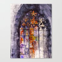 stained glass Canvas Prints featuring Stained glass by takmaj