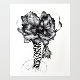 Graphic Cabbage Floral Art Print