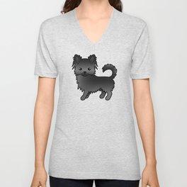 Black Long Coat Chihuahua Dog Cute Cartoon Illustration Unisex V-Neck